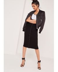 Missguided Ribbed Popper Through Maxi Skirt Black