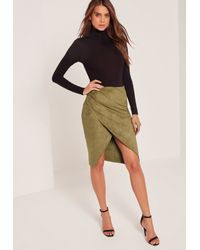 Missguided Multicolor Faux Suede Asymmetric Midi Skirt Khaki