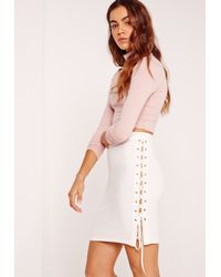 Missguided Pink Lace Up Eyelet Side Mini Skirt White