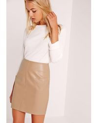 Missguided White Faux Leather Mini Skirt Tan