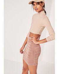 Missguided Multicolor Textured Slinky Mini Skirt Mauve