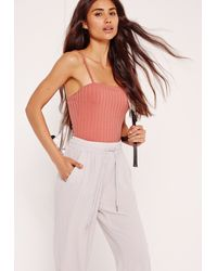 Missguided Ribbed Straight Across Bodysuit Pink