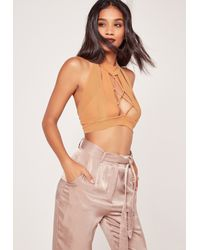 Missguided Pink Lace Up Front Mesh Overlay Bralet Nude