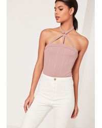 Missguided Harness Neck Ring Detail Bodysuit Pink