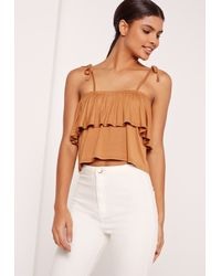 ad3c28fdcb3 Lyst - Missguided Frill Layered Strappy Crop Top Brown in Brown