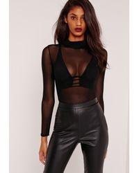 Missguided High Neck Mesh Bodysuit Black