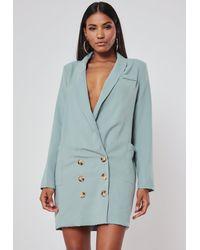 Missguided Blue Plunge Oversized Blazer Dress