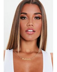 Missguided - Metallic Playboy X Gold Thin Chain Necklace - Lyst
