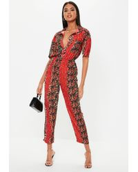 Missguided Red Animal Floral Print Jumpsuit