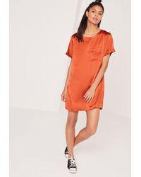 Missguided Satin Pocket Shift Dress Spicy Amber Orange