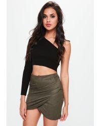 Missguided - Multicolor Khaki Faux Suede Wrap Mini Skirt - Lyst
