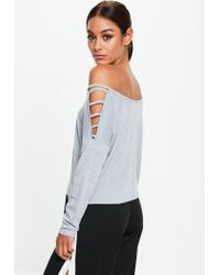 Missguided Gray Grey Ladder Sleeve Jersey Top