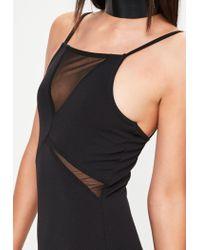 Missguided - Black Strappy Mesh Insert Bodycon Dress - Lyst