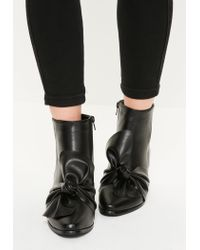 Missguided - Black Faux Leather Bow Detail Ankle Boots - Lyst