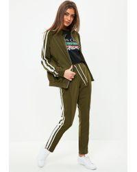 Missguided - Green Khaki Double Side Stripe Joggers - Lyst
