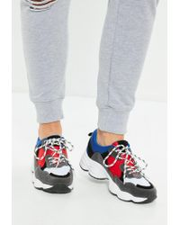 Missguided - Blue Contrast Lace Chunky Sole Sneaker - Lyst