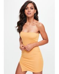 Missguided Yellow Bandeau Mini Dress