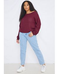 Missguided Multicolor Size Burgundy Waffle Off The Shoulder Knitted Jumper