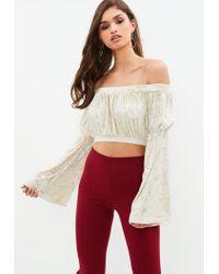 e6b97440fd3c3 Missguided Cream Velvet Bardot Flared Sleeve Crop Top - Lyst