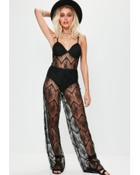 Missguided - Black Full Lace Bra Insert Jumpsuit - Lyst