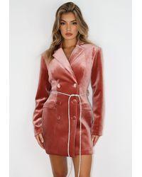 Missguided Red Velvet Diamante Belt Blazer Dress