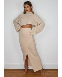 Missguided Natural Co Ord Asymmetric Knitted Midaxi Skirt