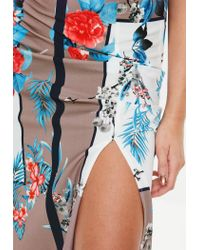 Missguided White Floral Colour Block Skirt
