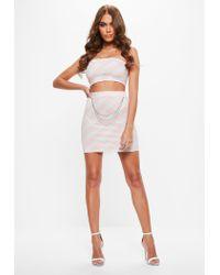Missguided Pink Chain Detail Plaid Scuba Mini Skirt