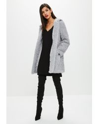 Missguided Gray Grey Shaggy Longline Faux Fur Coat