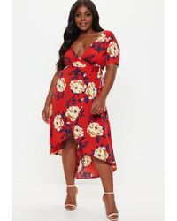 Missguided Red Plus Size Strappy Floral Wrap Dress
