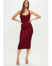 Missguided Burgundy Scoop Neck Bodycon Dress in Red - Lyst e28c07351