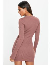 Missguided Multicolor Mocha Long Sleeve Rib Knitted Mini Dress