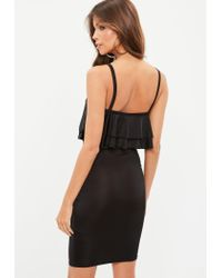 Missguided Black Strappy Lace Up Front Layered Bodycon Dress