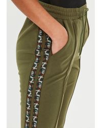 Missguided Green Khaki Double Side Stripe Joggers