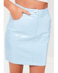 Missguided - Blue Vinyl Mini Skirt - Lyst