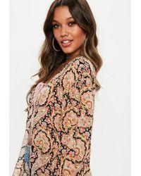 Missguided Orange Paisley Kimono Jacket