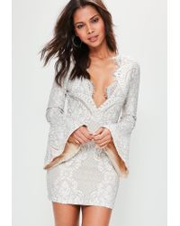 Missguided Multicolor Nude Lace Frill Button Sleeve Bodycon Dress