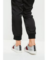 Missguided - Metallic Silver Glitter Lace Up Trainers for Men - Lyst