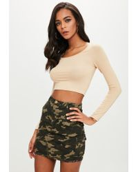 Missguided - Natural Nude Scoop Neck Crop Top - Lyst