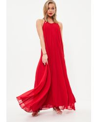 Missguided Red Pleated Maxi Dress