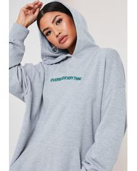 Missguided Gray Petite Grey Oversized Everything Hoodie