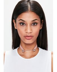 Missguided | Pink Faux Leather Metal Bar Detail Choker Necklace | Lyst