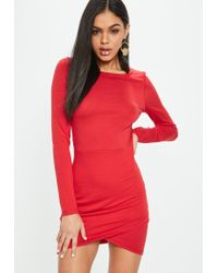Lyst - Missguided Red Wrap Front Long Sleeve Bodycon Dress in Red 221b1af54