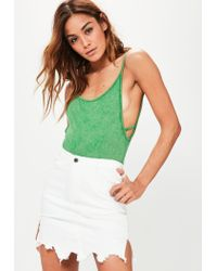 Missguided | Green Extreme Low Back Cami Washed Bodysuit | Lyst