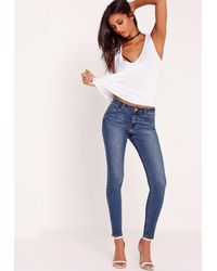 Missguided Hustler Mid Rise Skinny Jeans Vintage Blue