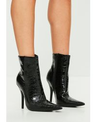 Missguided - Black Extreme Pointed Croc Print Ankle Boots - Lyst