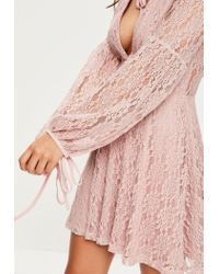 Missguided Pink Lace Plunge Tie Neck Skater Dress