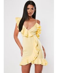 Missguided Yellow Strappy Frill Tea Dress