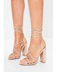 6453260b673d Missguided Nude Multi Strap Sandals in Natural - Lyst