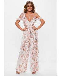 Missguided Pink Floral Cold Shoulder Jumpsuit